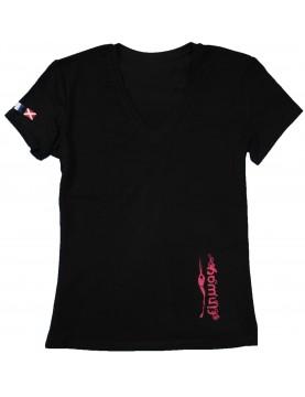 T-shirt Femme Electra Noir et Framboise
