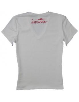T-shirt Femme Electra  Blanc et Framboise
