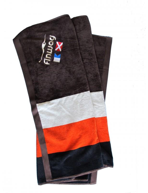 Drap de plage rayé Noir/Orange/Blanc/Chocolat
