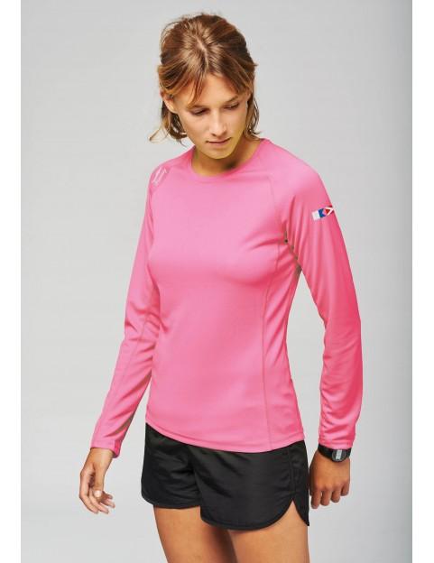 T-shirt femme séchage rapide Rose fluorescent