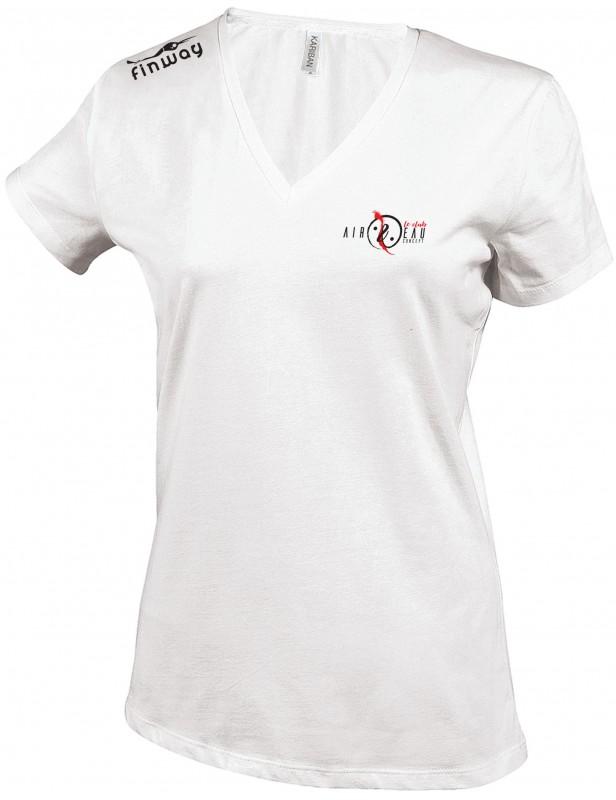 T-Shirt Col V Femme Blanc