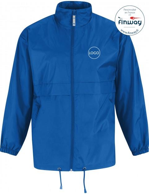 Coupe Vent HOMME 100% NYLON Bleu roi (Marquage)