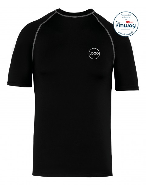 T-Shirt Sport Aquatique avec logo sur le coeur (Marquage) NOIR