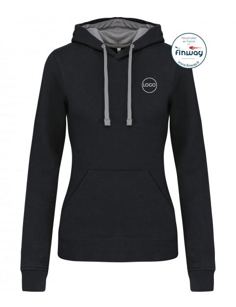 Sweat sans zip FEMME avec logo sur le cœur (Broderie)